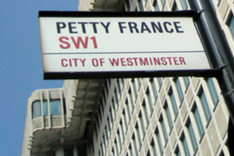 Image of Petty France roadsign and MOJ building