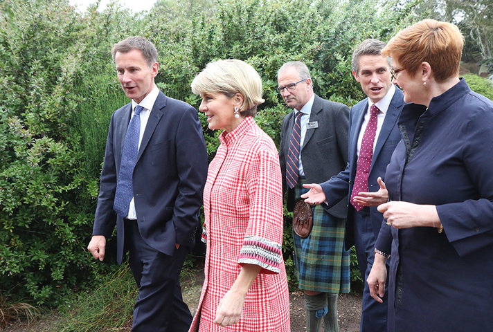 Foreign Secretary Jeremy Hunt with Australian Foreign Affairs Minister Julie Bishop