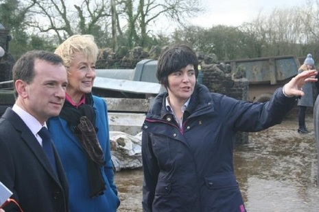 Welsh dairy farmer Abi Reader with Alun Cairns and Andrea Leadsom