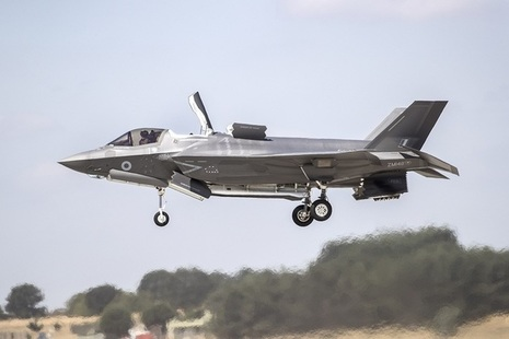 An F-35 comes in to land on the first of the Vertical Landing Pads at RAF Marham. Crown Copyright MOD.