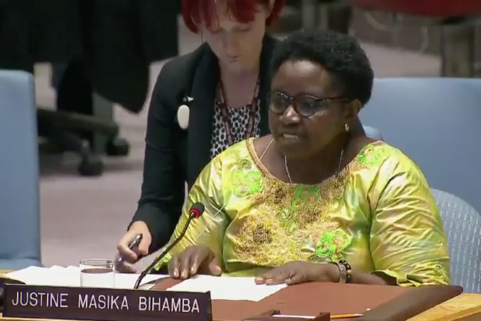 Justine Makisa Bihamba briefing the UN Security Council on women's peace and security in DRC.