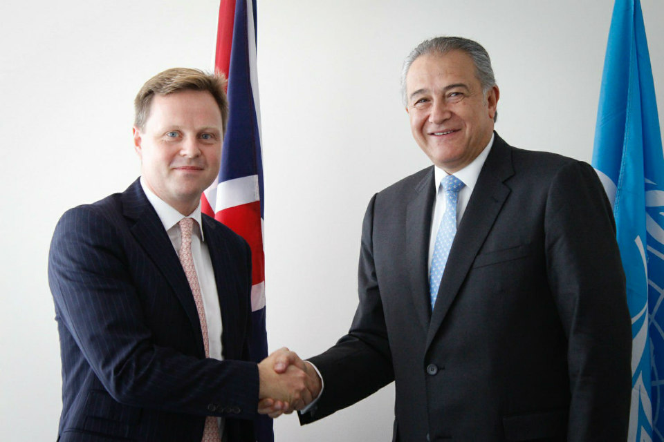 Charge d'Affaires Stephen Hickey with Colombian Vice President Naranjo