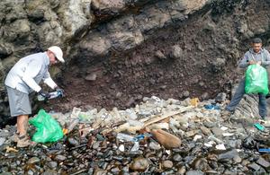Recent efforts to clean up years of marine debris (Credit: St Helena National Trust marine team)