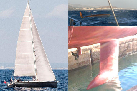 Composite image showing yacht, capsize event and keel