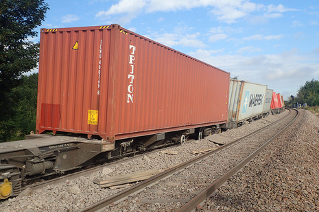 Part of the derailed train at Ely West Junction
