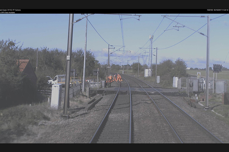 Forward facing CCTV footage showing train 1D09 approaching the group of track workers (image courtesy of Virgin Trains East Coast)