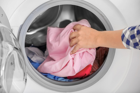 Washing machine with clothing