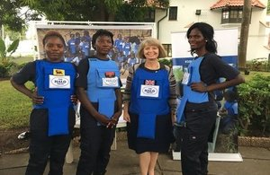 "Harriett Baldwin, Minister for Africa with women from project ""100 Women in Demining"" from The Hallo Trust"