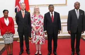 (From left to right) Political and Media officer Tassia Kissama, DHM Matthew Shouler, HMA Jessica Hand Acreditation ceremony,  Angolan President João Lourenço and Angolan MFA, Manuel Augusto