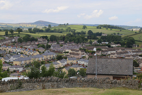 Landscape view of a town in Wales