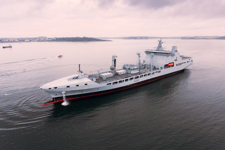 RFA TIDEFORCE DOCKS IN FALMOUTH AHEAD OF ENTERING SERVICE