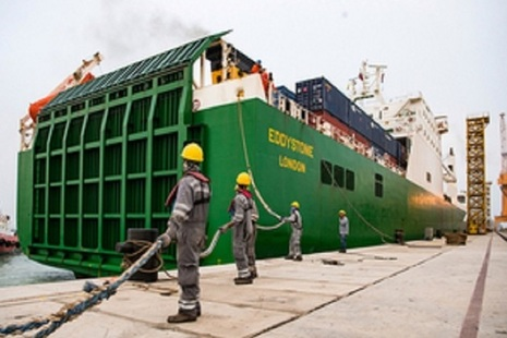 UK's Eddystone 'RoRo' ship is secured by Omani dockworkers in Duqm Port, Oman.