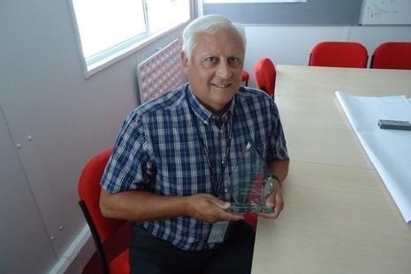 Mike Coward with his award for collaborative working.