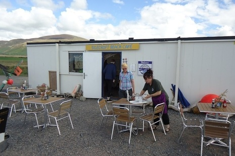 Sal Millar, left, and café operator Sam Burns, outside Silecroft Beach Café