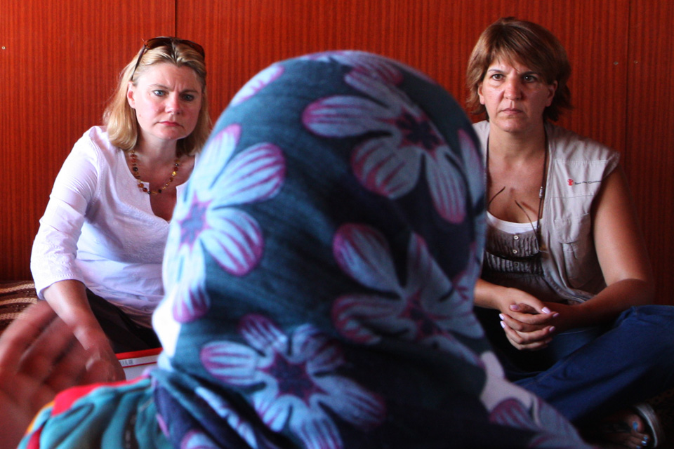 Justine Greening speaking to women refugees from Syria in Lebanon's Bekaa Valley. Picture: British Embassy Amman