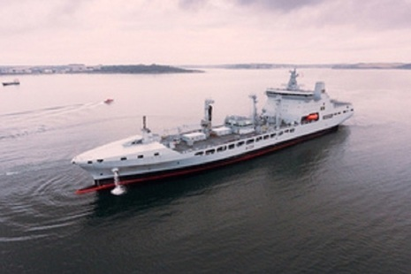 The fourth and final Tide class tanker, RFA Tideforce, has arrived in Cornwall for customisation. Crown Copyright.