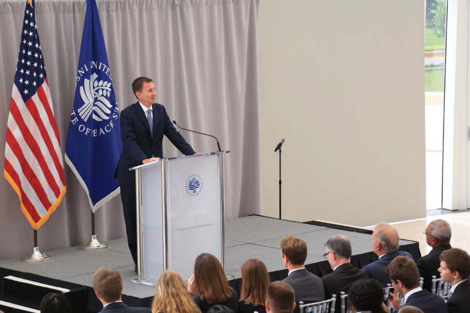 Foreign Secretary Jeremy Hunt speaking at the US Institute of Peace