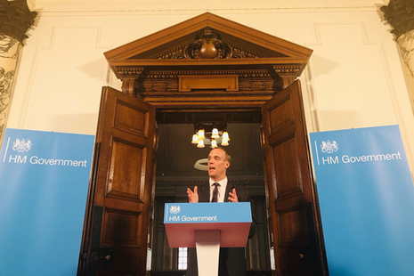 Dominic Raab delivering his speech