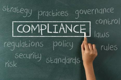Blackboard with the word compliance written on it