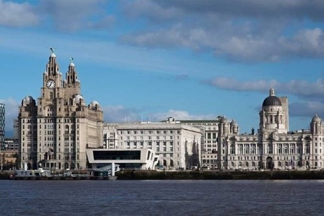 Liverpool skyline view from river Mersey