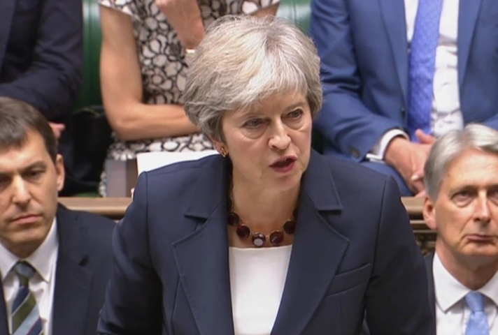 Prime Minister Theresa May, delivering the statement to the house