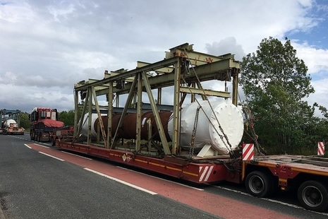40 metre long trailer en-route to the Cyclife Metals Recycling Facility at Lillyhall