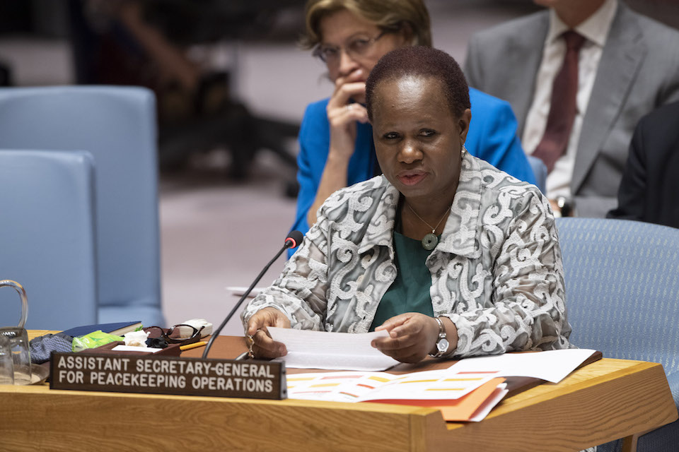 Bintou Keita, Assistant Secretary-General for Peacekeeping Operations, briefs the Security Council on the question concerning Haiti. (UN Photo)