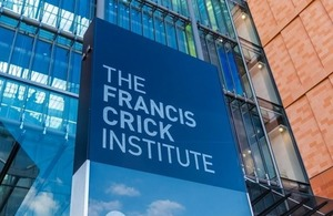 The sign and entrance to The Francis Crick Institute