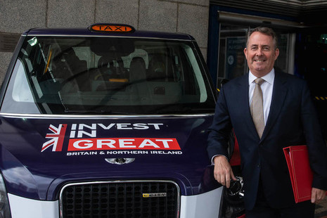 Liam Fox and electric taxi