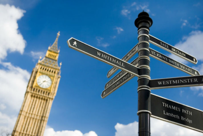 Road signs in Westminster with Houses of Parliament behind