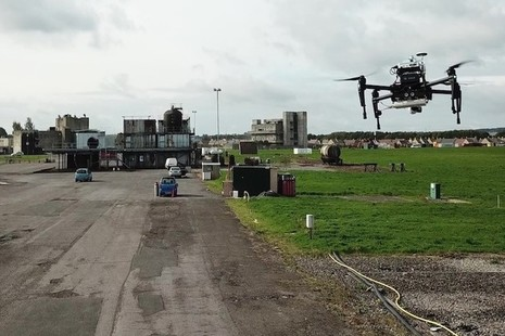Drone flies over testing ground