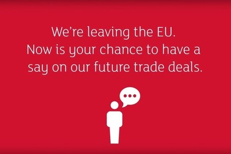 Infographic with the words We're leaving the EU. Now is your chance to have a say on our future trade deals.