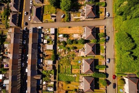 Aerial view of streets of Blaenau Gwent