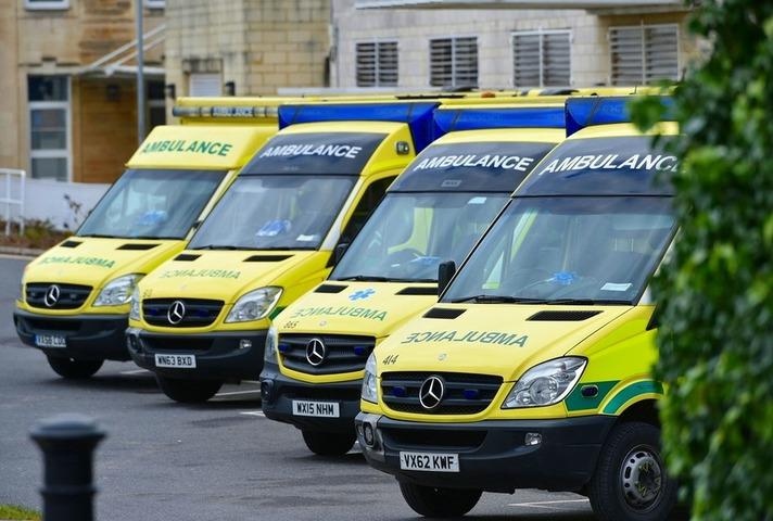 Ambulances outside the Royal United Hospital, Bath