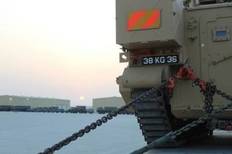 Armoured and non-armoured vehicles at the UK Joint Logistics Support Base in Duqm, Oman. MOD Crown Copyright.