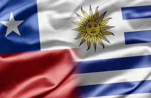 Chile and Uruguay Flags
