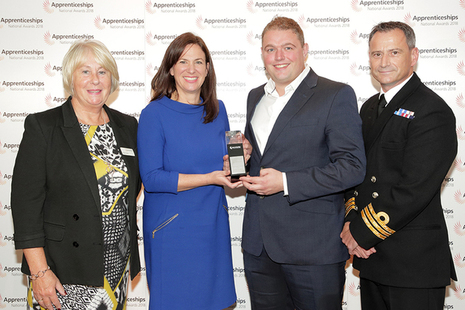 Amy Carrillo and Matt Page receiving the South West 'Large Employer of the Year' Award at the National Apprenticeship Awards