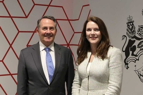 International Trade Secretary Dr Liam Fox and HM Trade Commissioner for Asia-Pacific Natalie Black.