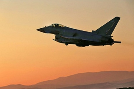 A Royal Air Force Typhoon departs on a mission supporting Operation Shader in support of the Counter-Daesh operations in Iraq and Syria.
