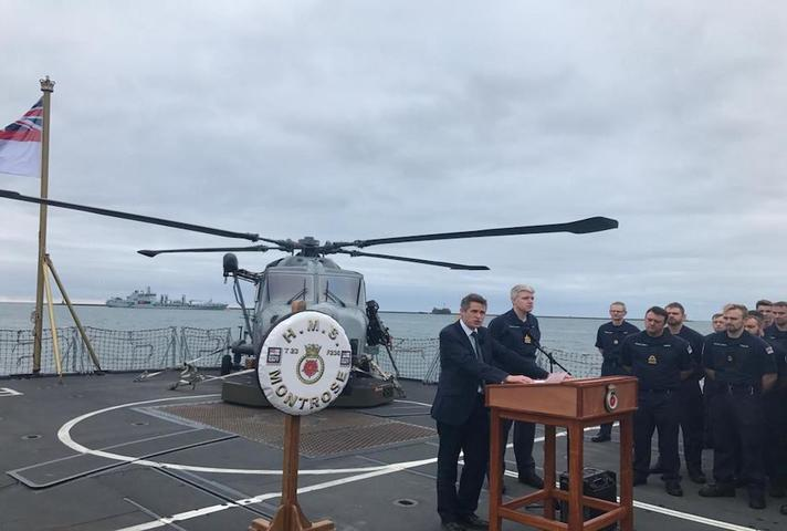 Defence Secretary Gavin Williamson pictured on HMS Montrose.