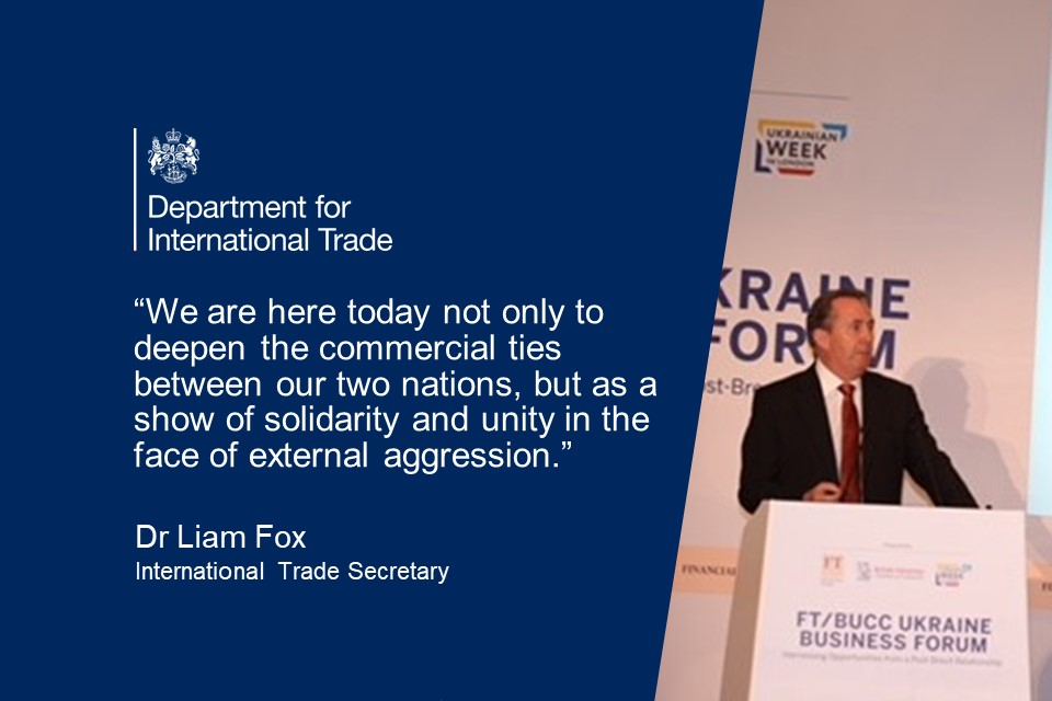 A quote card with a photo of Liam Fox addressing the businesses along with a DIT logo and a quote