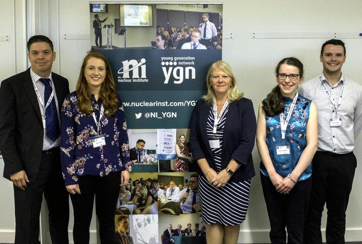 Sellafield Ltd's Howard Carpenter (left) and Dorothy Gradden (centre) with organisers Bethan Murray, Jenny Robinson and Andrew Ballantyne (NNL).