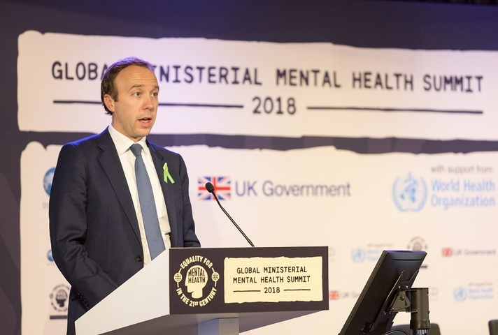 Matt Hancock giving speech at Global Ministerial Mental Health Summit