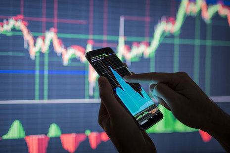 Smartphone displaying graph data