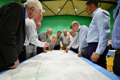 People at a HS2 consultation event.