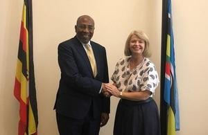 Minister Baldwin with Ugandan Prime Minister Rugunda