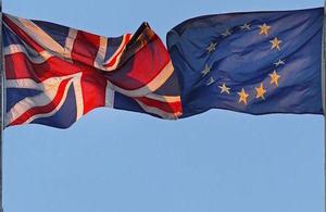 United Kingdom flag next to EU flag
