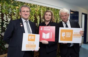 Film director Richard Curtis with International Development Secretary Penny Mordaunt and Education Secretary Damian Hinds at the launch of Connecting Classrooms through Global Learning. Photo: David Owens