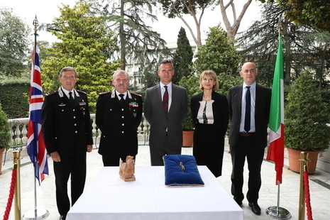 Minister for the Armed Forces Mark Lancaster at the Protection of Cultural Heritage event at the British Embassy in Rome