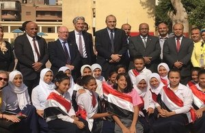 Minister Alistair Burt and Ambassador Geoffrey Adams at a school in Egypt